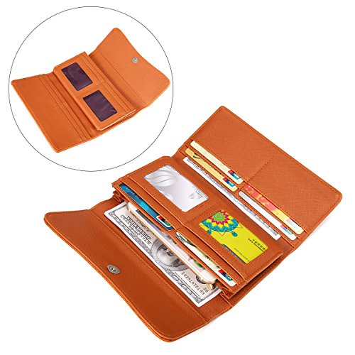 OURBAG Women Leather Wallet Clutch Purse Card Holder Ladies Hollow Out Long Wallet Brown