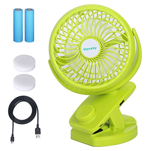 Honsky Quiet, 5000mAh, Battery Operated, 720°Rotation, Clip-on, Rechargeable Small Desk Fan, Portable Fan, Personal Electric Fan for Stroller, Gym, Car, Office, Home, Outdoor, Travel, Camping, Green