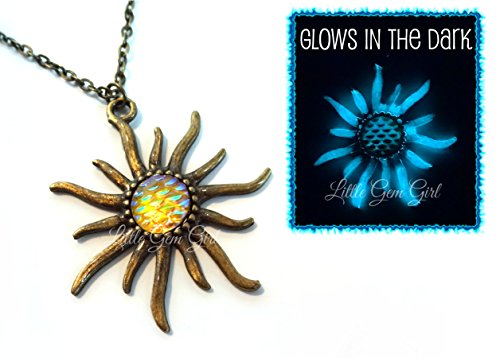Glow in the Dark Sun Necklace with Yellow Scale Center Glowing Bronze Sunflower Pendant Charm 18 In (Earth Goddess Costume)