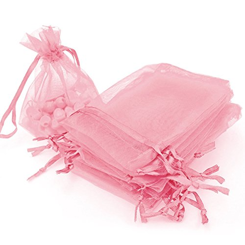 Organza Bags 100pcs 4 x 6 Inch Gift Bags Organza Drawstring Pouch Jewelry Party Wedding Favor Party Festival Gift Bags Candy Bags (Pink)
