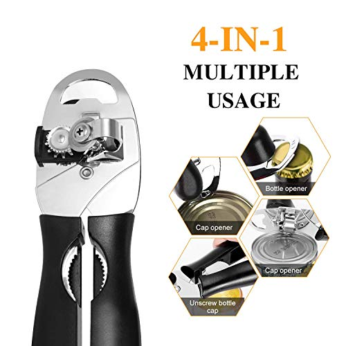 Can Opener, Adoric Stainless Steel Manual Can Opener with Ergonomic Designed Comfort Grips, Smooth Edge-Ultra Sharp Cutting Tools 2 Spare Blades Included Great for Seniors with Arthritis