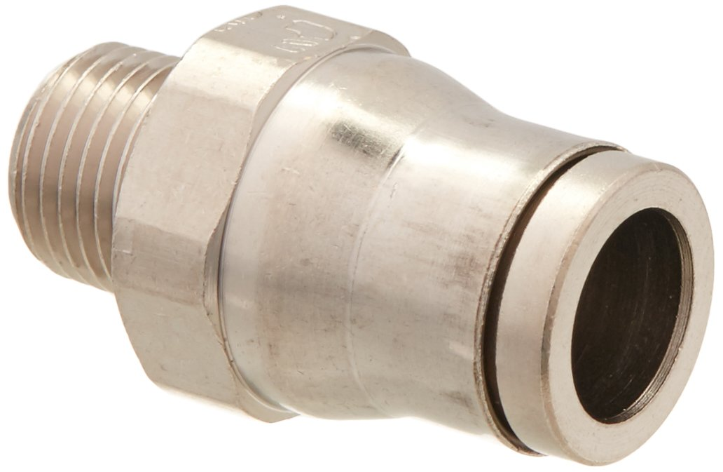 1//8 Tube to Pipe Push-to-Connect and Male BSPT Connector 1//8 8 mm Pack of 5 Pack of 5 Parker 68PLM-8M-2R-pk5 Prestolok PLM Metal Push-to-Connect Fitting Nickel Plated Brass