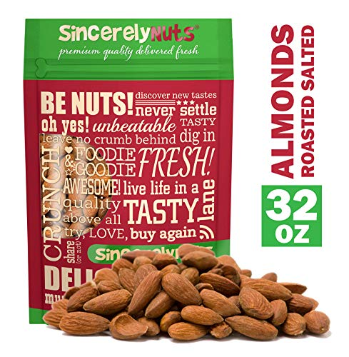 Sincerely Nuts – Roasted Whole Salted Almonds | 2 Lb. Bag | Delicious Guilt Free Snack | Low Calorie, Vegan, Gluten Free | Gourmet Kosher Food | Source of Fiber, Protein, Vitamins and Minerals