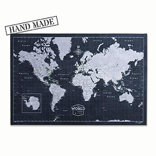 Push Pin World Map Board - With Push Pins to Mark World Travel - Handmade in Ohio, USA - Design: Modern Slate