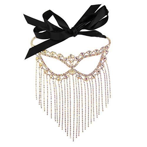 High Fashion Rhinestone Fringe Masquerade Mask Gold