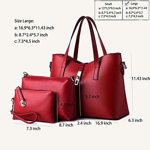 Red borsa borsa cuoio 4pcs SIFINI del Tote del di carta modo delle Set elaborazione large della Bag dell'unità donne di supporto Shoulder Bag Tqwq7x1z0
