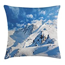 Lake House Decor Throw Pillow Cushion Cover by Ambesonne, Mountain Landscape Ski Slope Winter Sport Telfer and Snowboarding Image, Decorative Square Accent Pillow Case, 18 X18 Inches, White Blue
