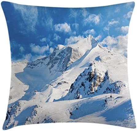 Amazon Com Ambesonne Mountain Throw Pillow Cushion Cover Mountain Landscape Ski Slope Winter Seasonal Sport Telfer And Snowboarding Image Decorative Square Accent Pillow Case 24 X 24 White Seafoam Home Kitchen