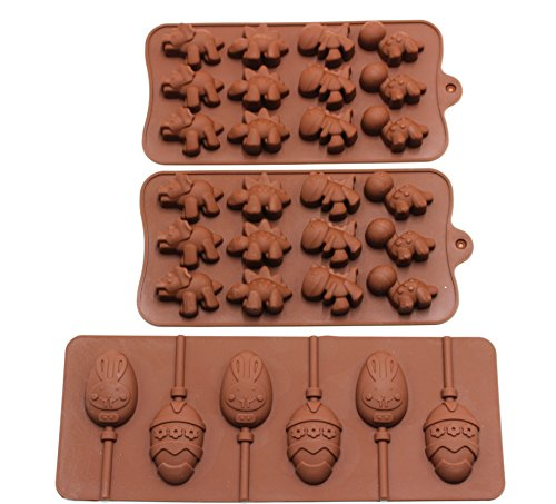 3 Pack Silicone Mold Set Chocolate Jelly Candy Molds - 2 Din