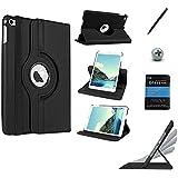 Kit Capa/Case Couro iPad Mini 4 Giratória 360° / Caneta Touch + Película de Vidro (Preto)