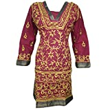 Womans Dress Kurta Maroon Floral Embroidered Cotton Indian Tunic Dresses