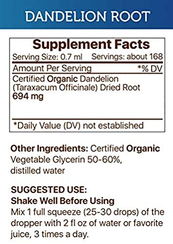 Dandelion Root Alcohol-Free Liquid Extract, Organic Dandelion Taraxacum Officinale Dried Root Tincture Supplement 2×4 FL OZ