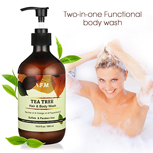 LuckyFine Natural Tea Tree Body Wash and Shampoo, Sulfate & Paraben Free Bath and Shower Gel, Anti-Dandruff, Relieve Eczema, Treatment of Back Acne, Pump Bottle, 16.8 fl. oz