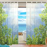 Use4 Design Unique Fashion Forest Green Trees Blue Sky Room Windows For Kids Baby Children Willow Transparent Voile Tulle Curtain Sheer Voile Panel Drapes Curtain