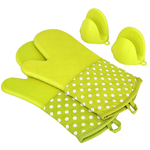 KEDSUM Heat Resistant Silicone Oven Mitts, 1 Pair of Extra Long Potholder Gloves with Bonus 1 Pair of Mini Cooking Pinch Grips, Non-Slip Cotton Lining Kitchen Glove for Baking, Barbeque, Green (Silicone Oven Mitt Set)