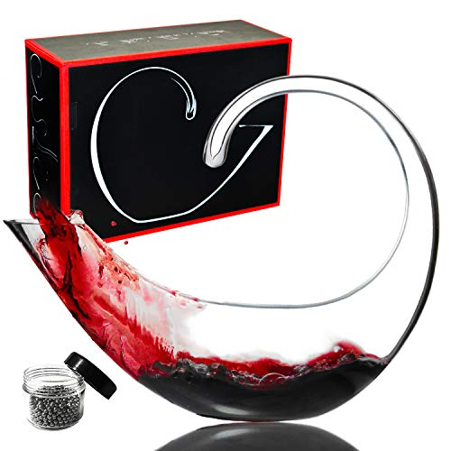 Le Sens Amazing Home Scorpion Wine Decanter 100% Hand Blown Lead-free Crystal Glass,Prepackaged Red Wine Carafe,Wine Accessories,Luxury Gift Box Wrapped and Free Cleaning Beads Set