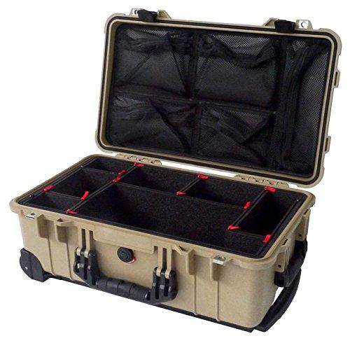 "Tan & Black ""Colors"" series case Pelican 1510 case with TrekPak divider system & 1519 Lid Organizer."
