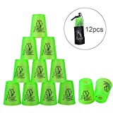 Quick Stacks Cups, 12 PC Of Sports Stacking Cups Speed Training Game(Green)