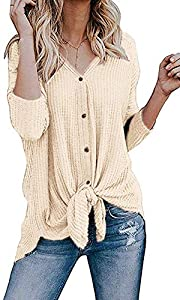 Sweepstakes: Chuhee Women's S-3XL Button Down Blouse Shirt Tie Knot Thermal...