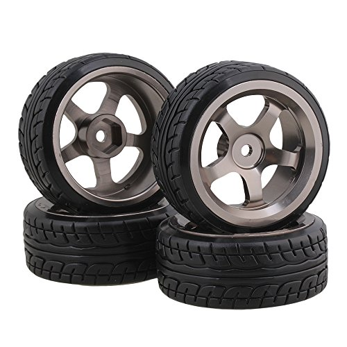 BQLZR Plastic RC 1:10 Drift Tires & Grey Aluminum Alloy 5 Spokes Wheels Pack of 4 ()