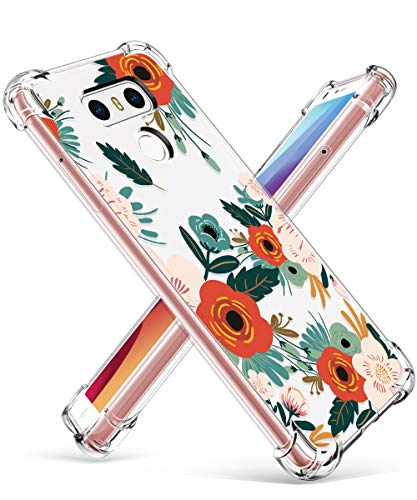 GVIEWIN Compatible for LG G6 Case, Clear Flower Pattern Design Soft & Flexible TPU Ultra-Thin Shockproof Transparent Floral Cover, Cases LG G6 (Flowering/Reseda Green)