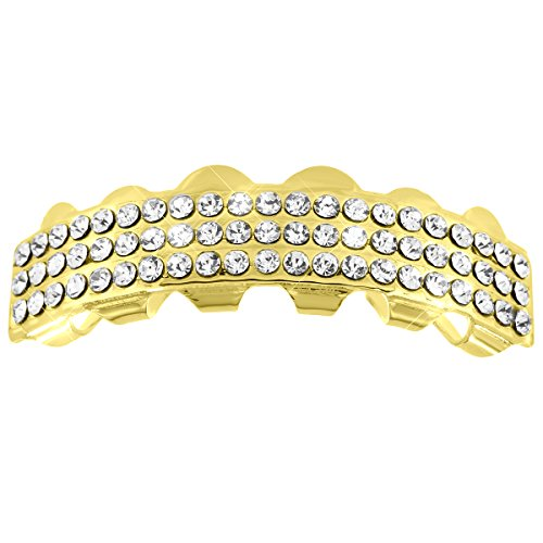 [Upper Mouth Grillz 3 Row Lab Diamonds 14K Yellow Gold Finish Halloween Sale] (Celebrity Halloween Costumes For Sale)