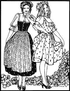 Austrian Dirndl Pattern (German Outfit For Oktoberfest)