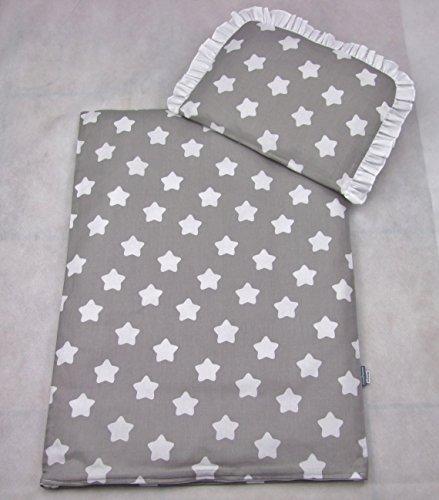 Rawstyle 4 tlg. Set Bezug für Kinderwagen Garnitur Bettwäsche Decke + Kissen + Füllung (Grau + Sterne rund weiß)