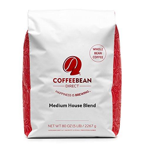 Coffee Bean Direct Medium House Blend, Whole Bean Coffee, 5-Pound Bag
