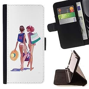 BullDog Case - FOR/Sony Xperia M2 / - / BEACH GIRLS BIKINI OUTFIT DRAWING ART SUMMER /- Monedero de cuero de la PU Llevar cubierta de la caja con el ID Credit Card Slots Flip funda de cuer