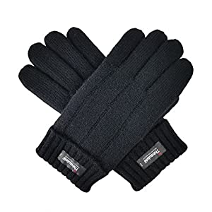 Bruceriver Men's Pure Wool Knitted Gloves with Thinsulate Lining with Rib Design