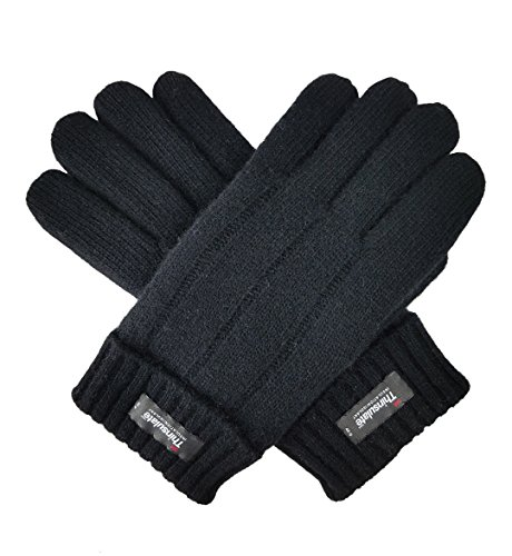 Bruceriver Mens Pure Wool Knitted Gloves with Thinsulate Lining with Rib Design