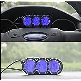 Car Mini Dashboard In/Outdoor Temperature Thermometer &Clock LCD Digital Display Blue Orange Backlight