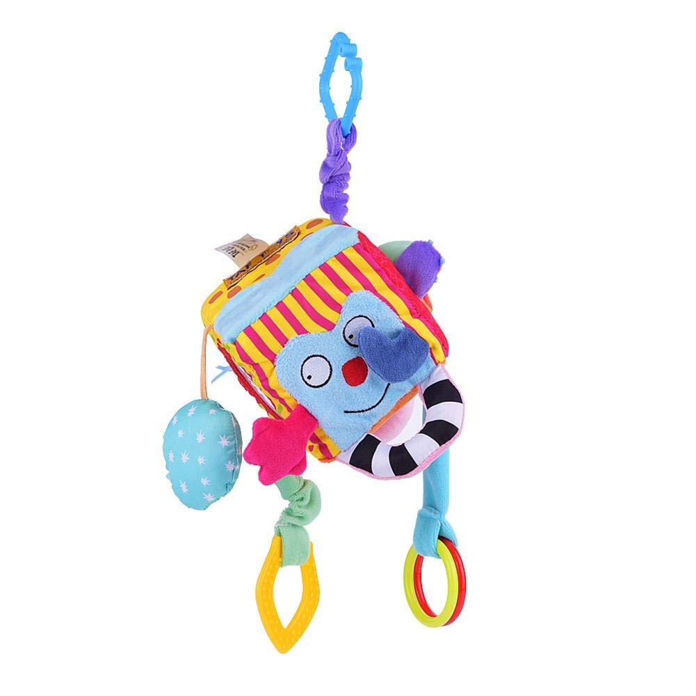 Zerodis Cubo de tela Bloque embrague traqueteos juguete para cochecito de bebé Juguetes para la cuna primeros juguetes educativos del bebé recién nacido 0-12 Meses