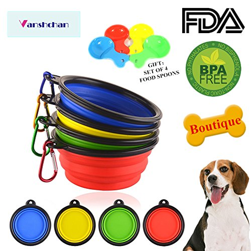 Vanshchan Collapsible Silicone Pet Bowls,Foldable Expandable Dog Bowl, (4-Pack With 4 Free Can Food Spoons), 100% Lead-free, BPA Free and Safe for Pets Dog/Cat/Bird Food Water Feeding Travel Bowls