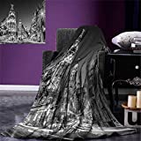 smallbeefly Black White Throw Blanket Madrid City at Nighttime in Spain Main Street Ancient Architecture Warm Microfiber All Season Blanket Bed Couch 50''x30'' Black White Grey