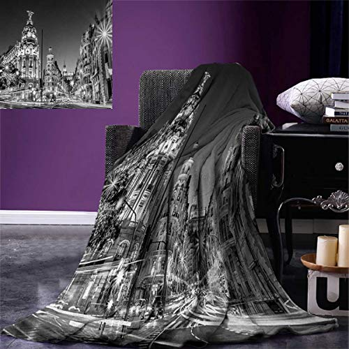 smallbeefly Black White Throw Blanket Madrid City at Nighttime in Spain Main Street Ancient Architecture Warm Microfiber All Season Blanket Bed Couch 50''x30'' Black White Grey by smallbeefly