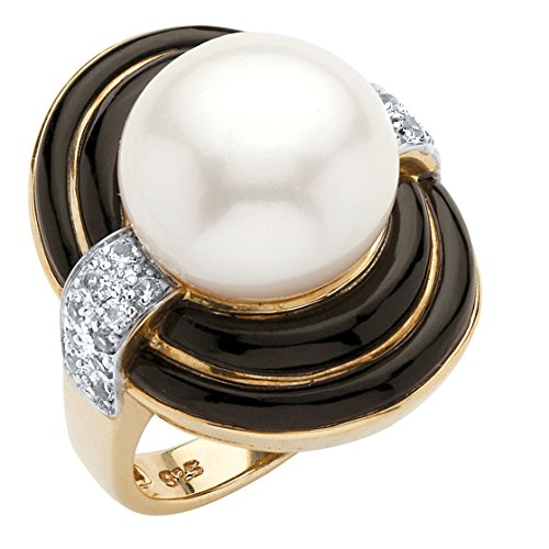 Genuine White Cultured Freshwater Pearl and Agate 18k Gold over .925 Silver Cocktail Ring (9.75mm) Size (Agate Genuine Pearl)