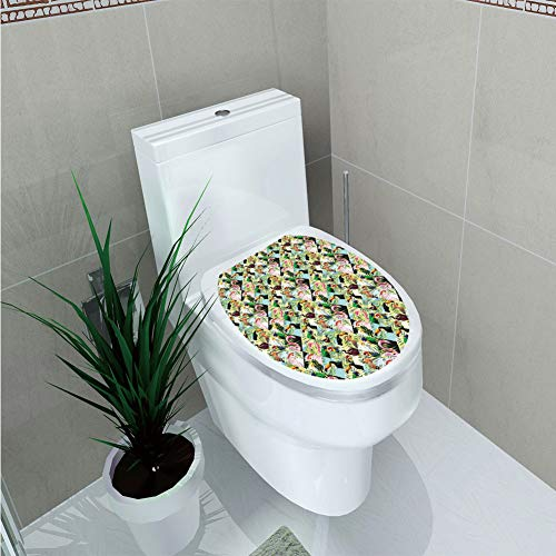- Toilet Cover Decoration,Luau,Tropical Climate Wildlife Jungle Inspired Patchwork Style Pattern with Birds Parrot,Multicolor,3D Printing,W12.6