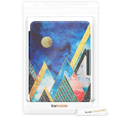 kwmobile Case Compatible with Kobo Clara HD - PU e-Reader Cover - Moon and Mountains Gold/Coral/Dark Blue