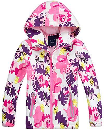 Big Girl's Floral Fleece Lined Waterproof Hoodie Rain Jacket Coat, Hooded Outdoor Outerwear for Big Girls, Pink, US 10-12 Years =Tag 2XL