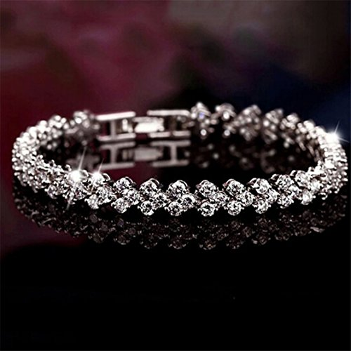 Meolin White Gold Plated Tennis Bracelet Rhinestone Stretch Crystal Bracelet (Bracelet Rhinestone Stretch Crystal Jewelry)