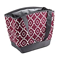 Fit & Fresh Women's Hyannis Insulated Lunch Bag with Ice Pack, Maroon Ikat Geo