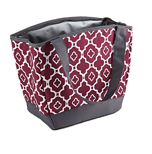 Fit & Fresh Hyannis Insulated Lunch Bag for Women, Soft Cooler Bag with Ice Pack for Work and On-The-Go, Maroon Ikat Geo - Bag Lined Shoulder Fully Cotton