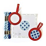 Needlepoint Beginner Kit Luggage Tag - Light Blue and Dark Blue Polka Dot