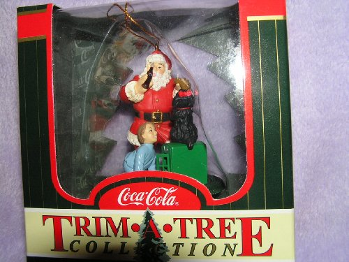(Coca Cola Christmas Ornament Santa Claus With Boy and Dog Trim-A-Tree Collection 1998)