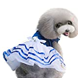 uxcell® Spring Summer Small Dog Dress Bowknot Princess Lace Skirt Pet Clothes Apparel Costume, Blue L