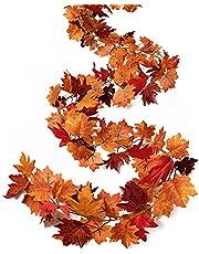Tiny Land Paquete de 2 guirnaldas de otoño, hoja de arce para decoración de otoño, 1,8 m de follaje de vid artificial para decoración de hogar, chimenea, manto, puerta delantera, decoración de Acción de Gracias