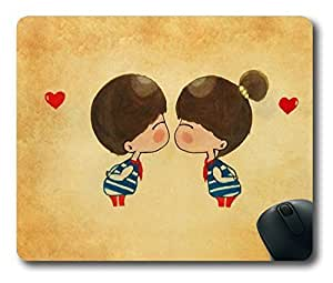 Kissing Love Cartoon Easter Thanksgiving Personlized Masterpiece Limited Design Oblong Mouse Pad by Cases & Mousepads