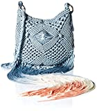 'ale by alessandra Women's Arcata Macrame Bag with Dip Dye Fringe, Grey Skies, One Size